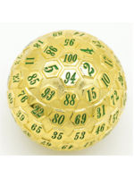 Foam Brain 45mm d100 Gold with Green Numbers
