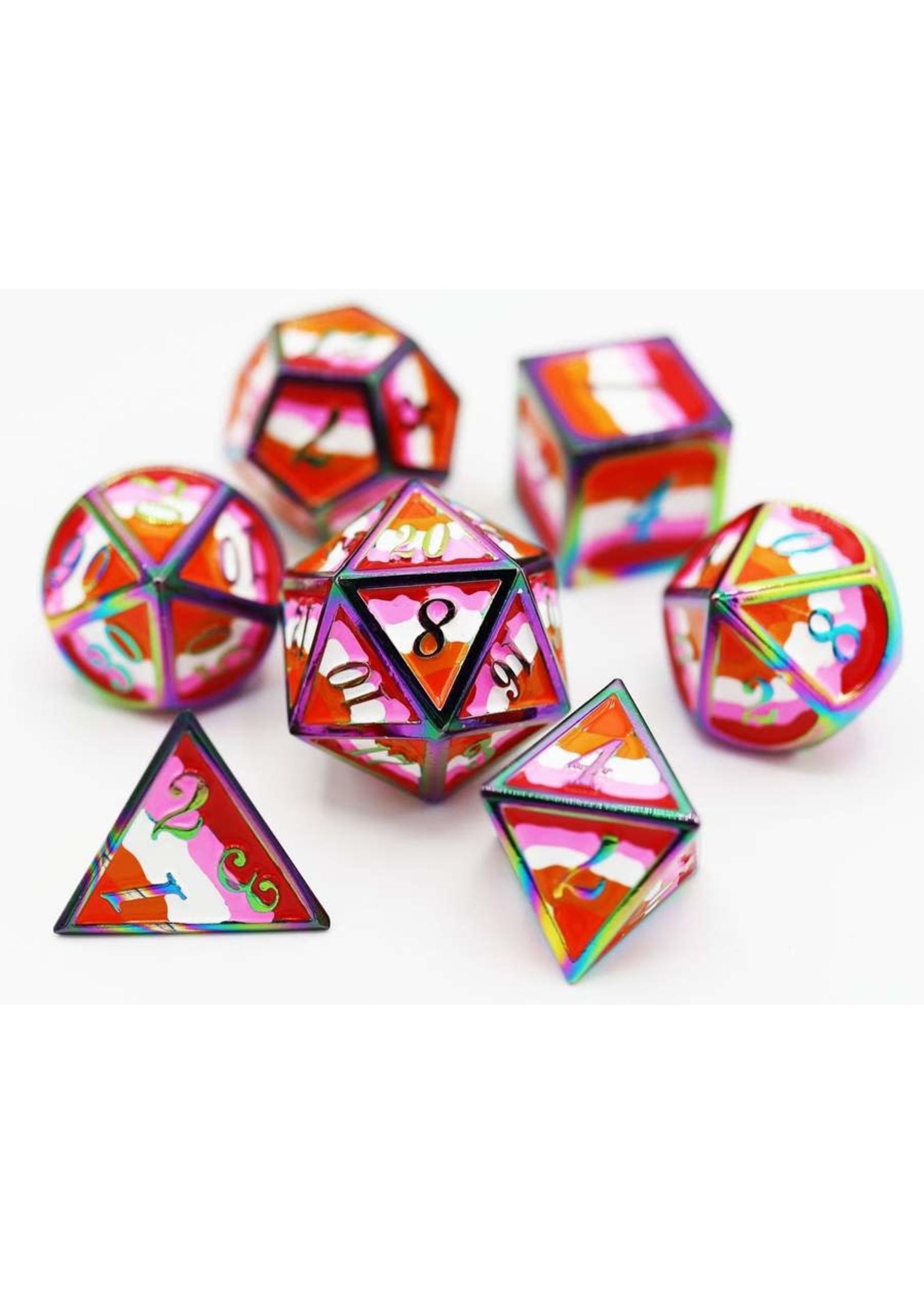 Foam Brain 16mm polyhedral 7 set metal - Pride Flag Lesbian