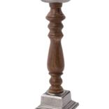 BIDKHOME Large Aluminum & Acacia Candle Holder- Nickel
