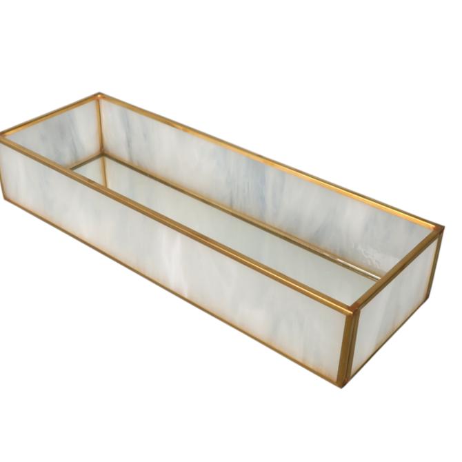 "BIDKHOME Milk Glass and Brass Mirror Box 3.7""-11"""