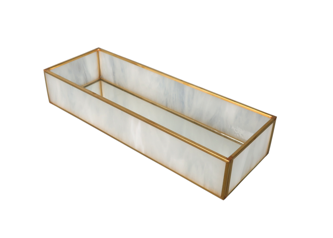 "BIDKHOME Milk Glass and Brass Mirror Box 3.7""-11"""