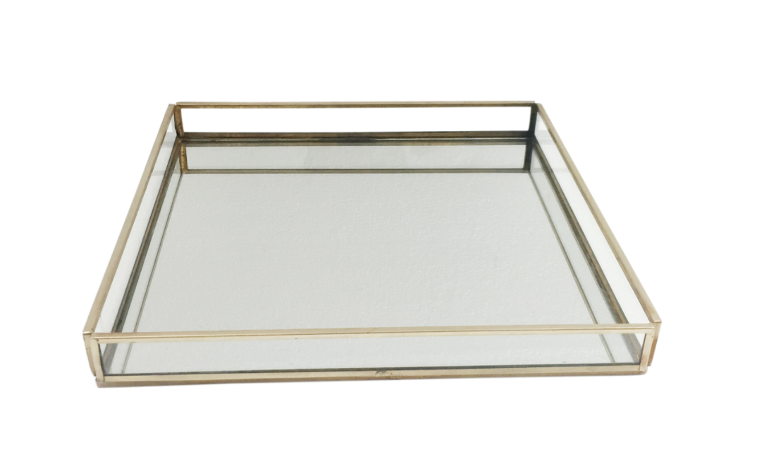 BIDKHOME Large Brass/Glass Square Tray
