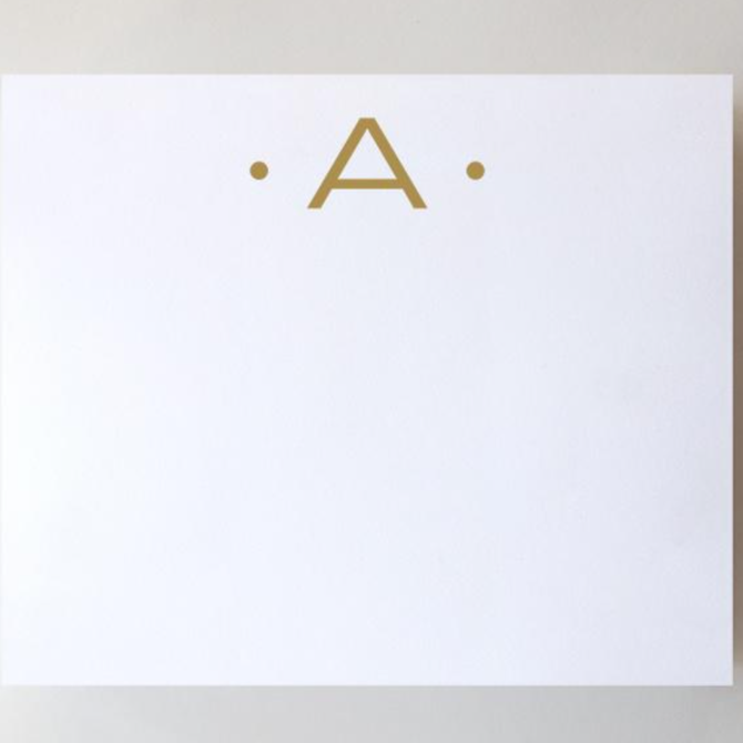 Black Ink Gold Foil Large Initial Pad - A