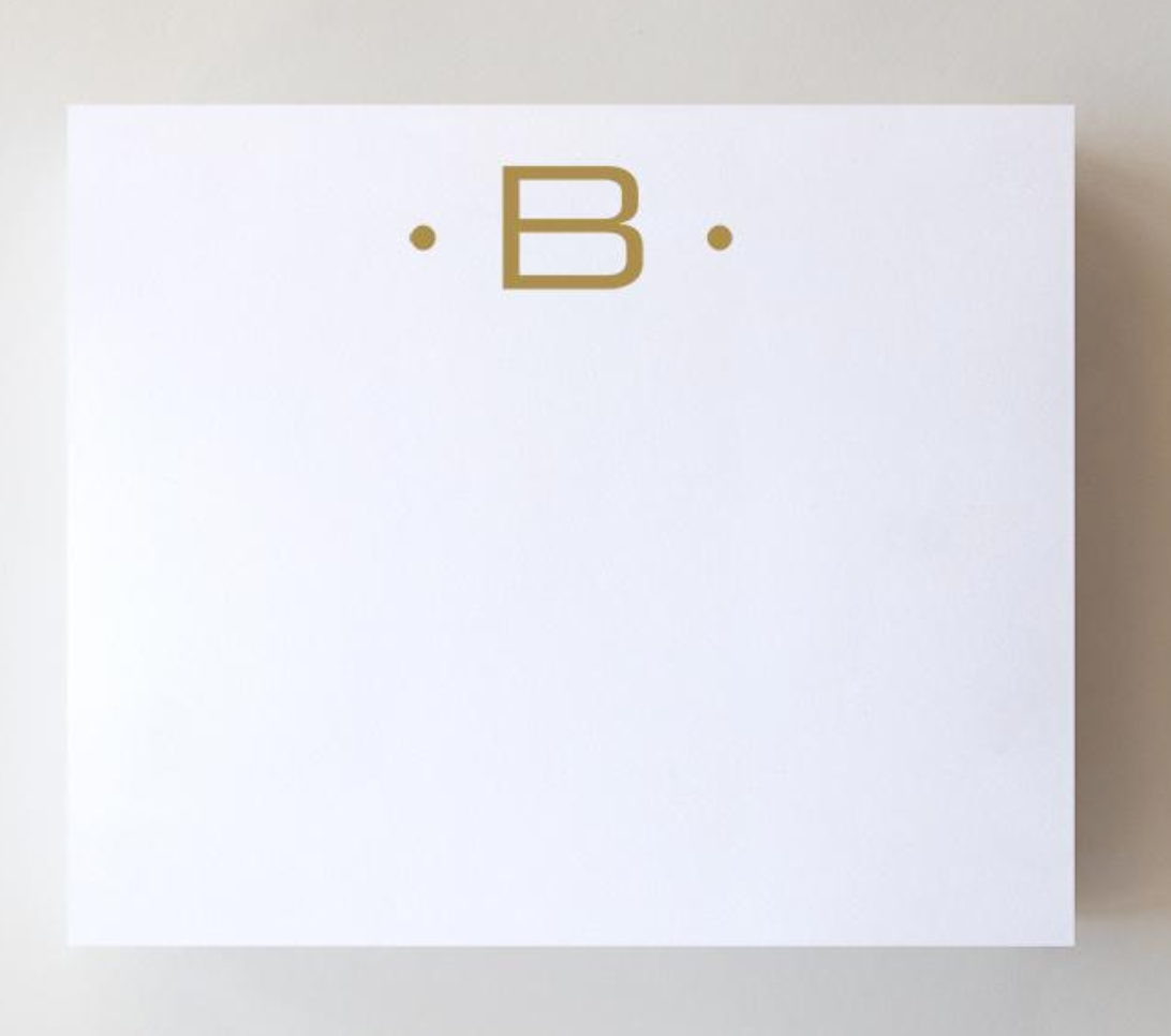 Black Ink Gold Foil Large Initial Pad - B