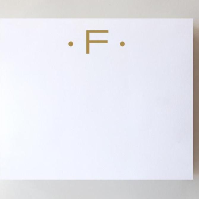 Black Ink Gold Foil Large Initial Pad - F