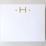 Black Ink Gold Foil Large Initial Pad - H