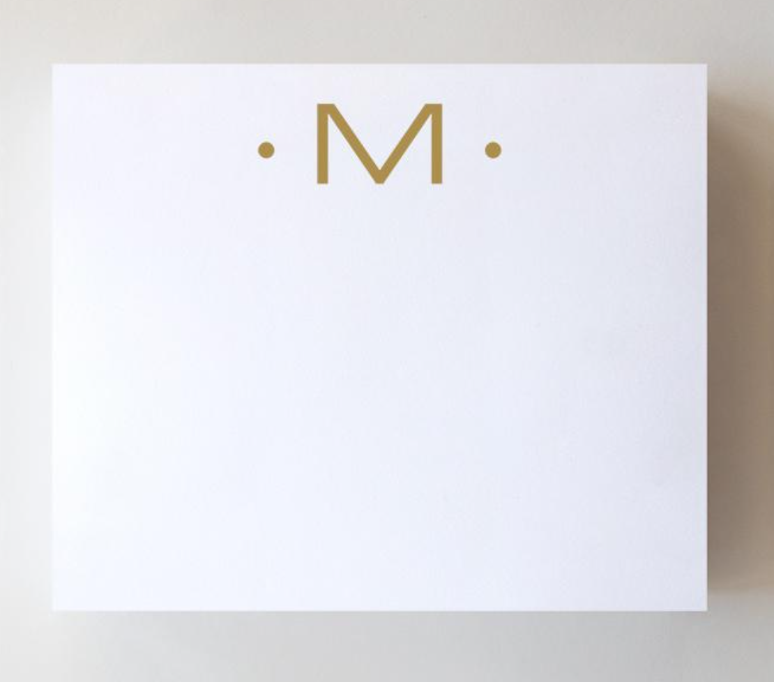 Black Ink Gold Foil Large Initial Pad - M