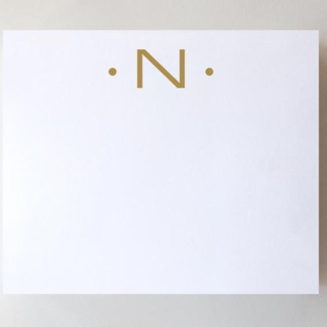 Black Ink Gold Foil Large Initial Pad - N