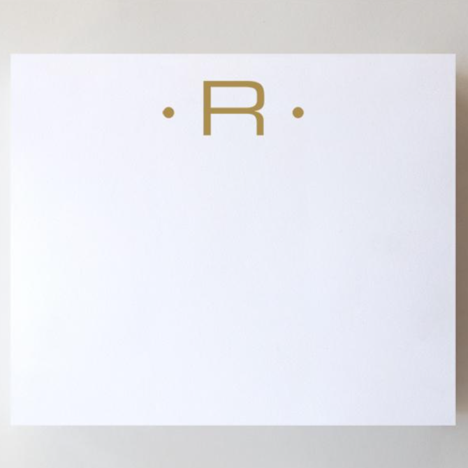 Black Ink Gold Foil Large Initial Pad - R