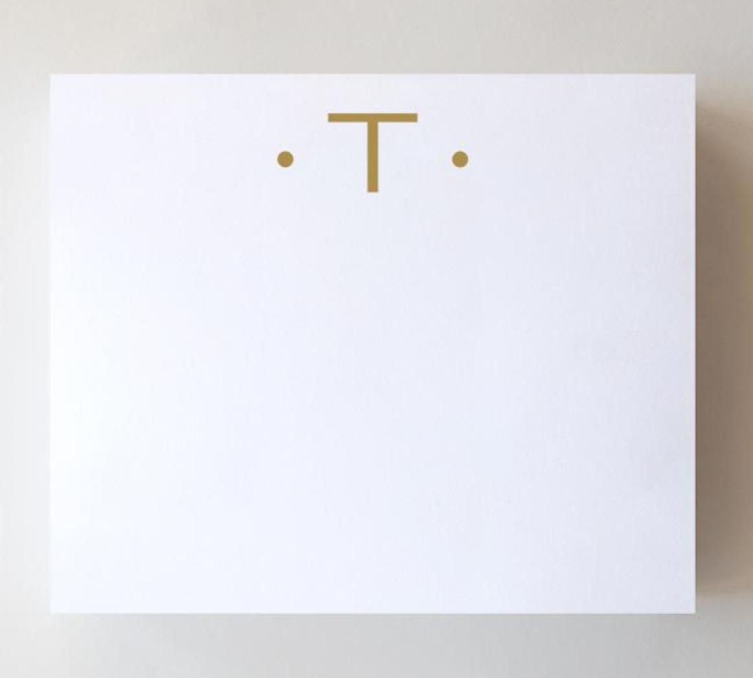 Black Ink Gold Foil Large Initial Pad - T