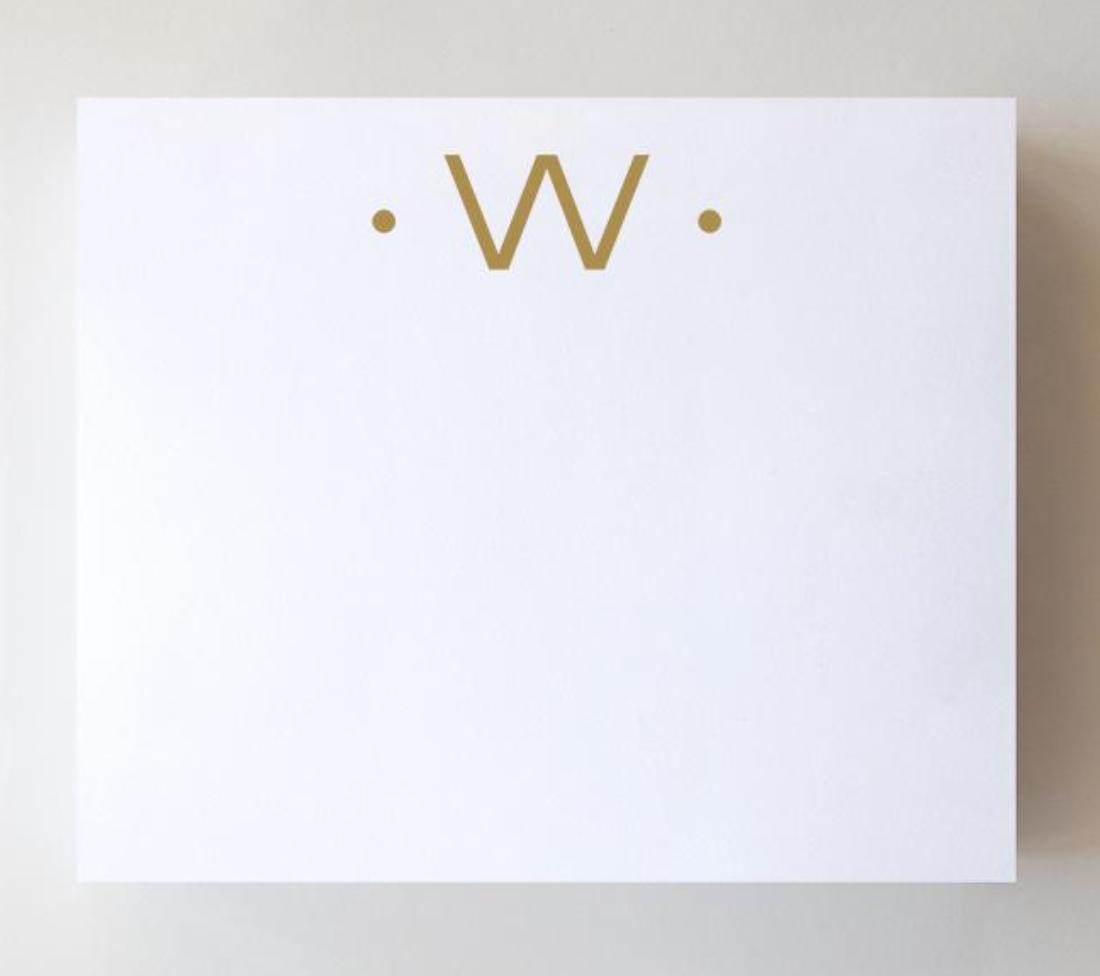 Black Ink Gold Foil Large Initial Pad - W
