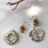 Bopbe Jewelry Oyster, Moonstone + Yellow Jade or Riverstone Earring -