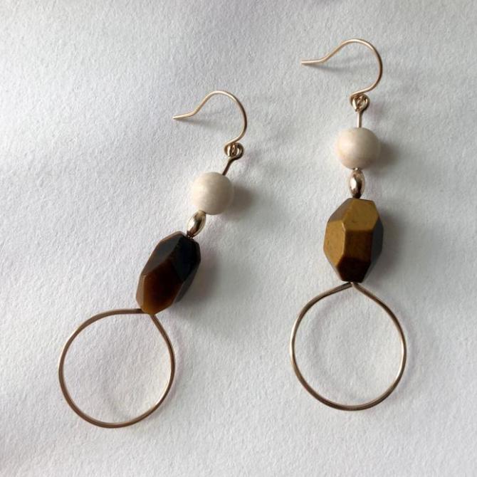 Bopbe Jewelry Tiger's Eye and Riverstone Earrings