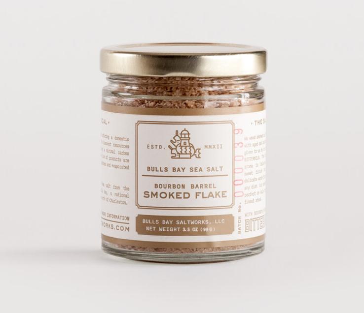 Bulls Bay Saltworks Bourbon Barrel Smoked Flake Jar
