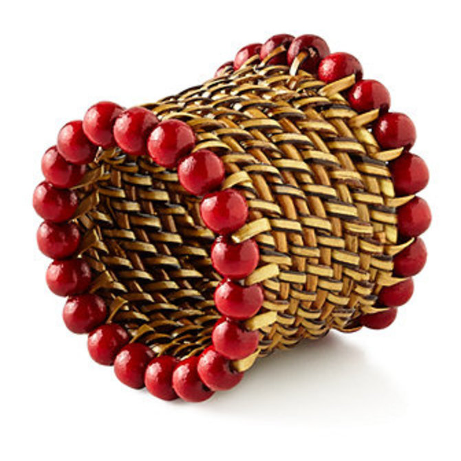 Calaisio beaded napkin ring - red