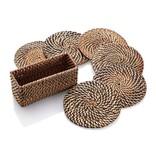 Calaisio Plain Round Coasters with Rectangular Case