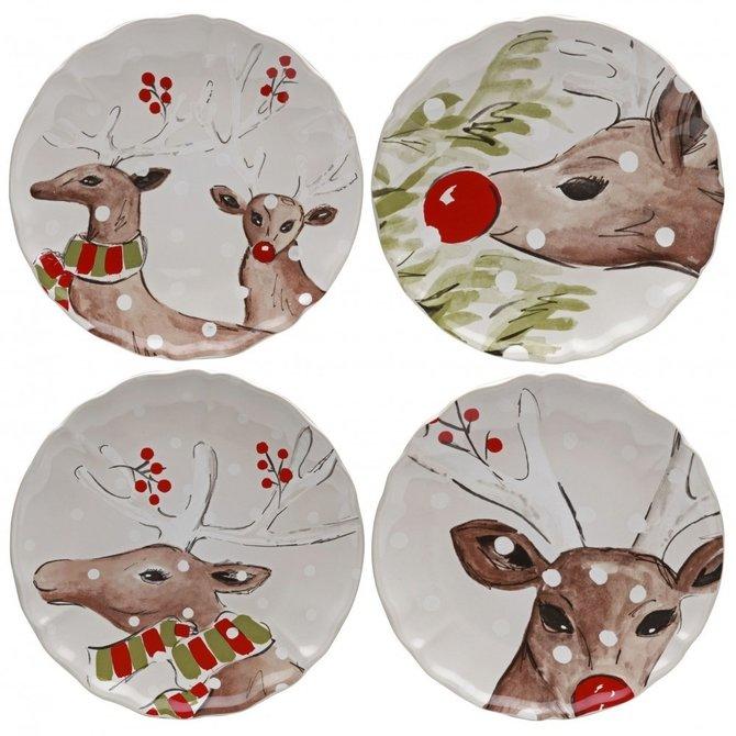 Casafina Living Deer Friends Dessert Plate Set of 4