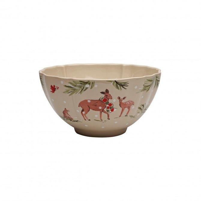 Casafina Living Deer Friends Large Tall Bowl