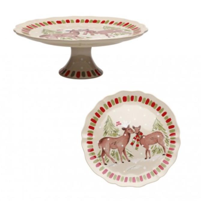 Casafina Living Deer Friends Lg Pedestal Plate