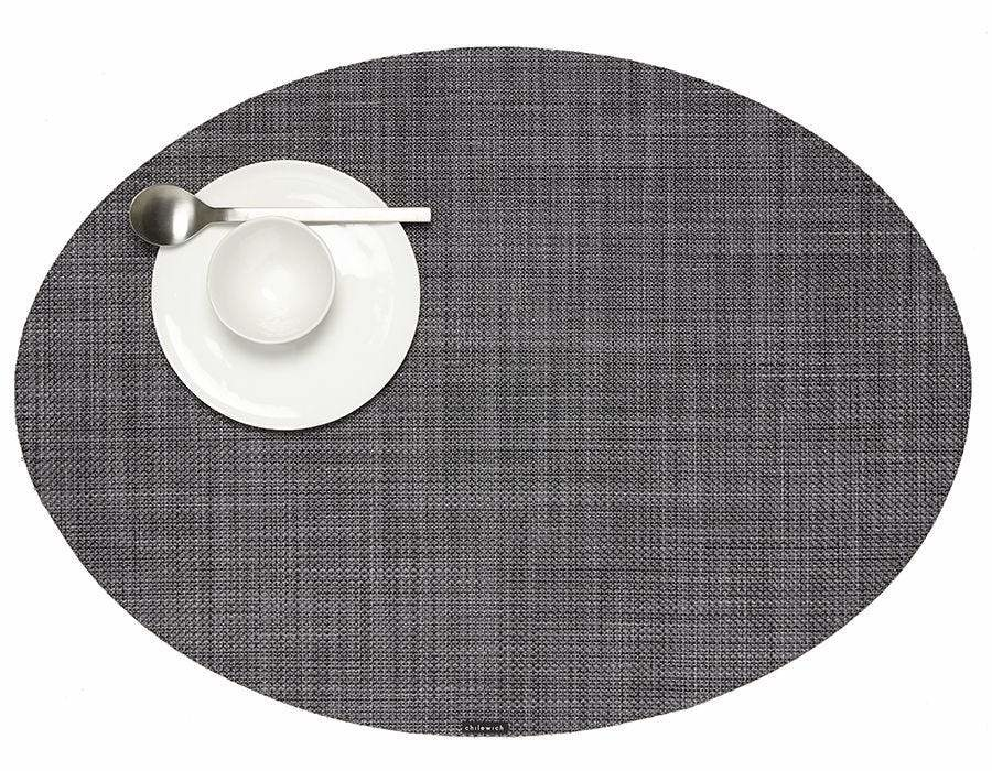 Chilewich Mini Basketweave Oval Table Mat Grey
