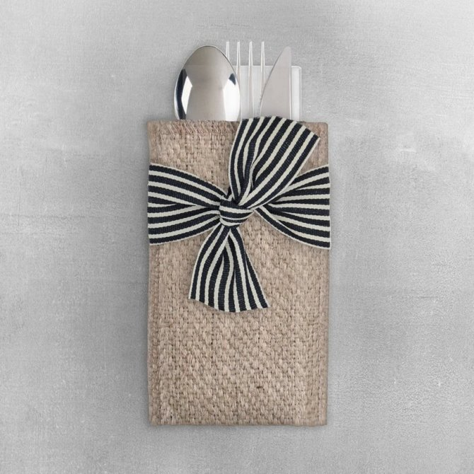 Cutlery Couture Black/ Cream Stripe Set of 8