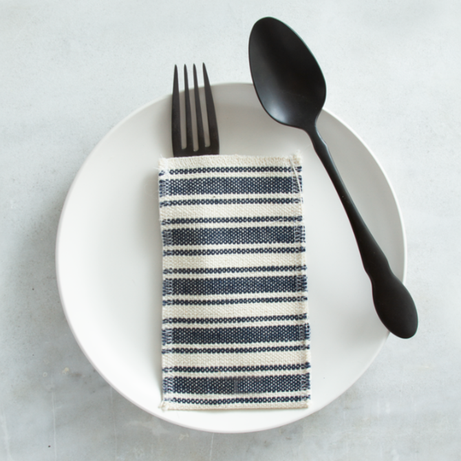 Cutlery Couture Navy Cotton Stripe set of 8