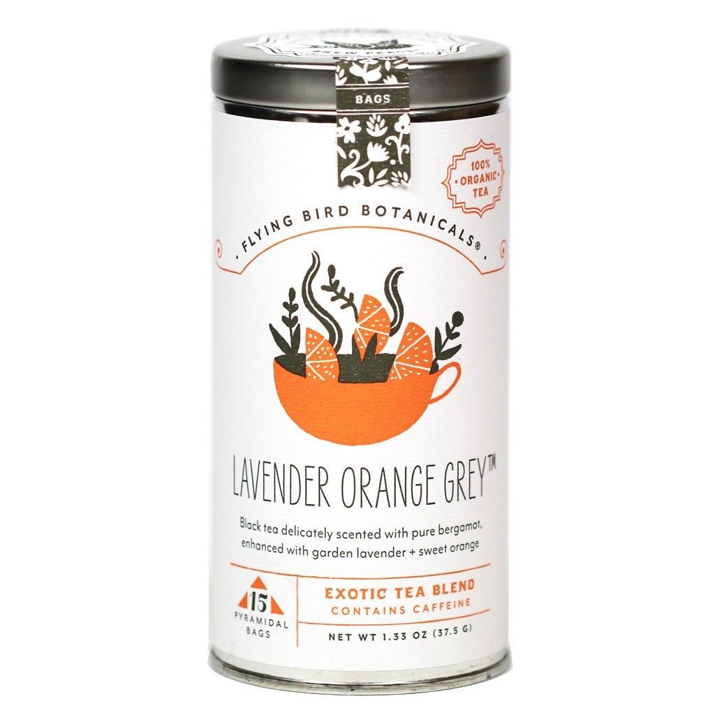 Flying Bird Botanicals Lavender Orange Grey - 15 bag tin