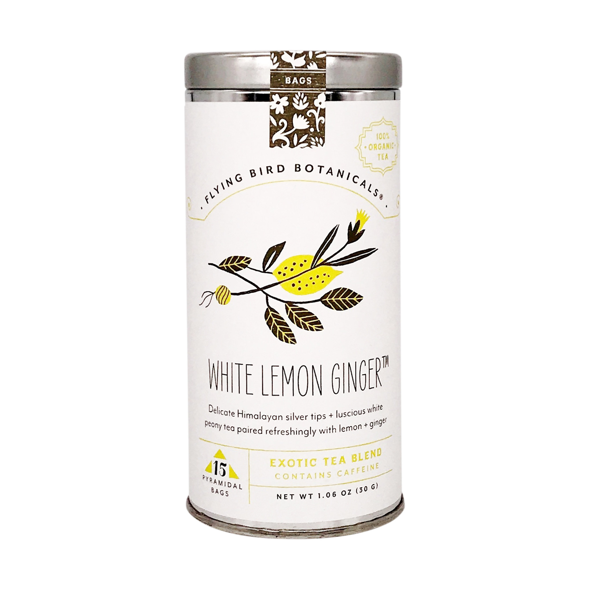 Flying Bird Botanicals White Lemon Ginger - 15 bag tin