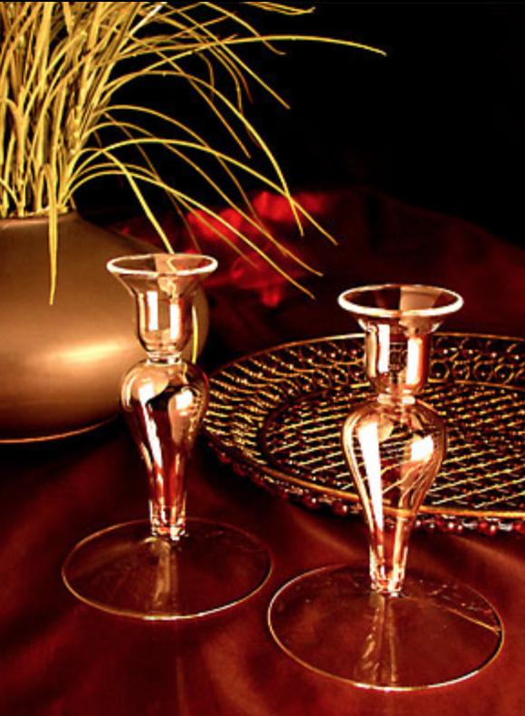 Firelight Glass Blown Candlestick Pair