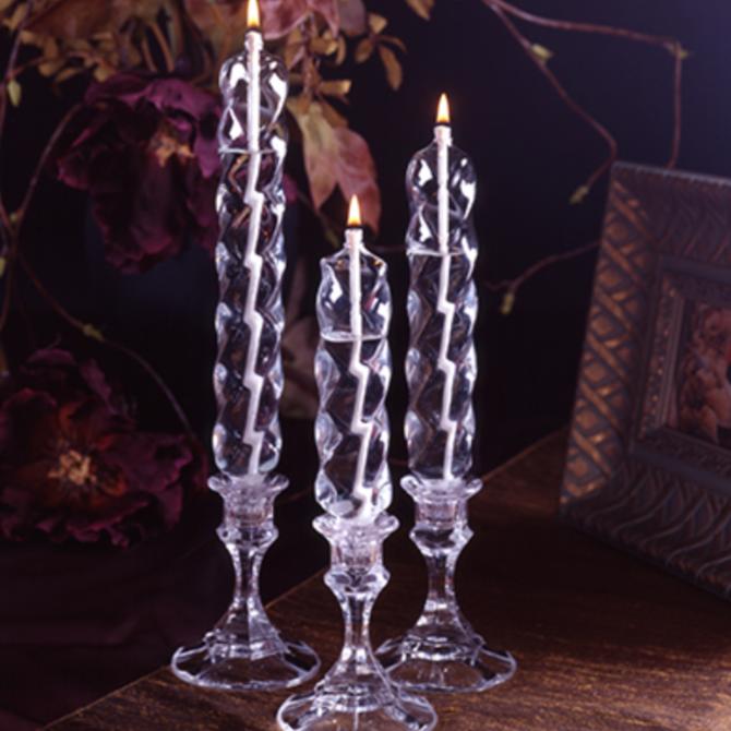 "Firelight Glass Bold Swirl Taper Single 8"""