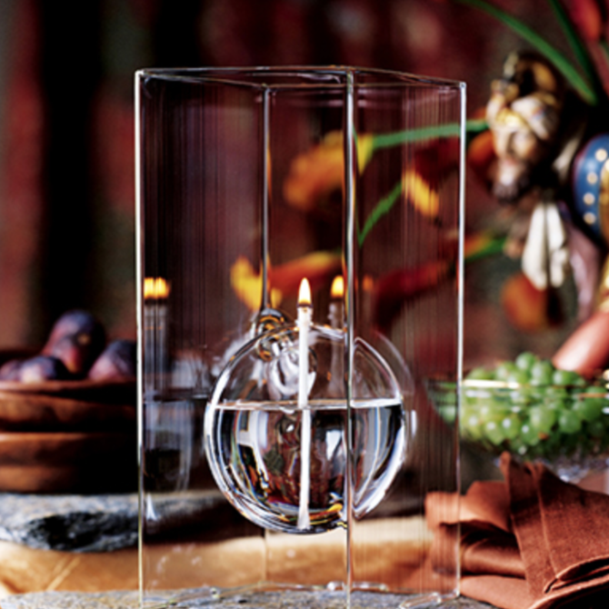 """Firelight Glass Floating Moon 11"""" Candle"""