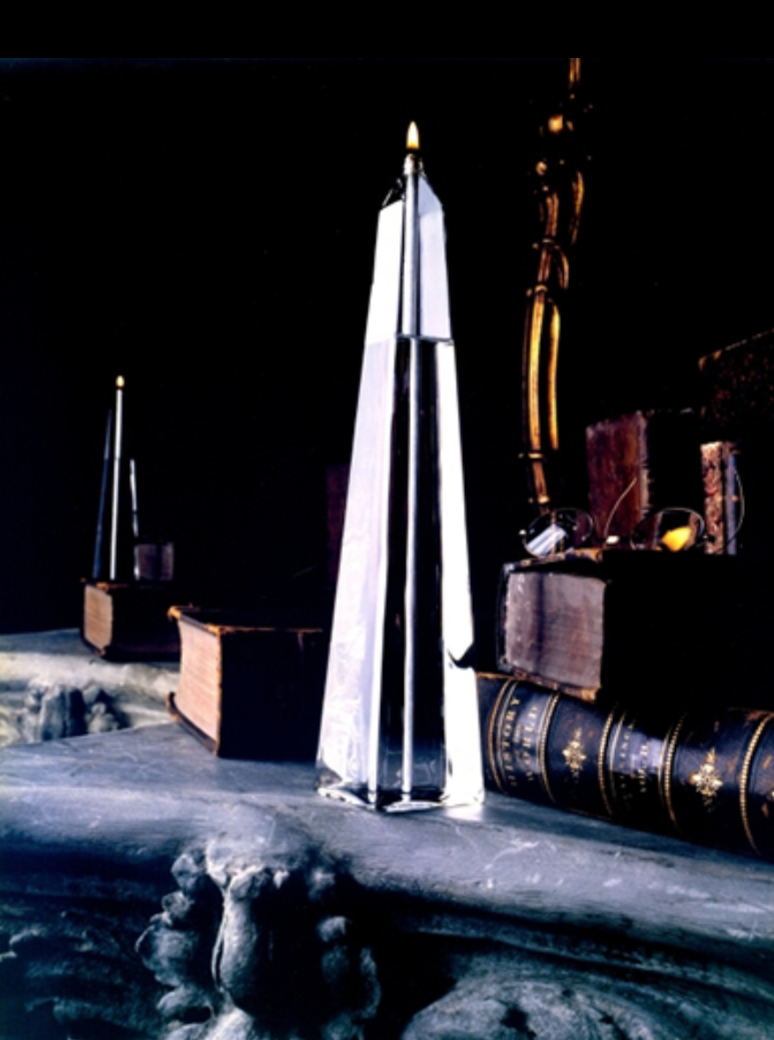 "Firelight Glass Obelisk Candle - 9"" tall"