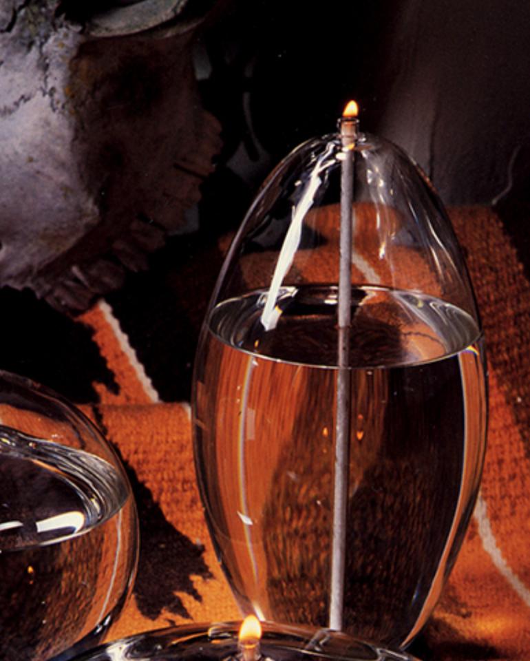 "Firelight Glass Pod 4"" Tall Candle"