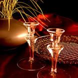 Firelight Glass Slender Candlestick Pair