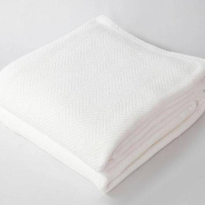 Harlow Henry Herringbone Blanket White - Full/Queen