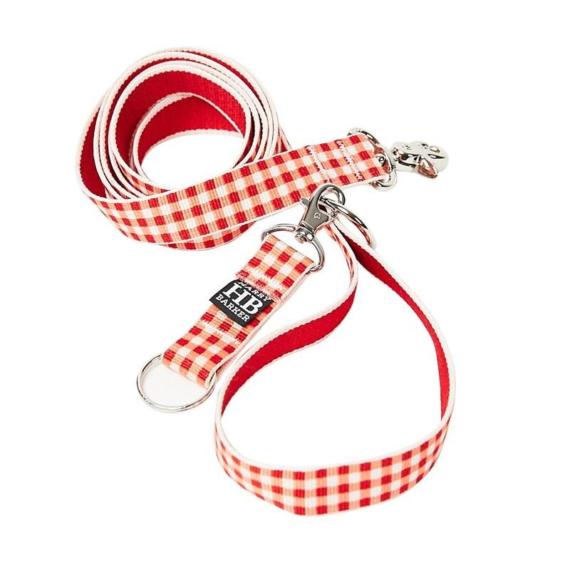 "Harry Barker Gingham Red Leash 1"" x6'"