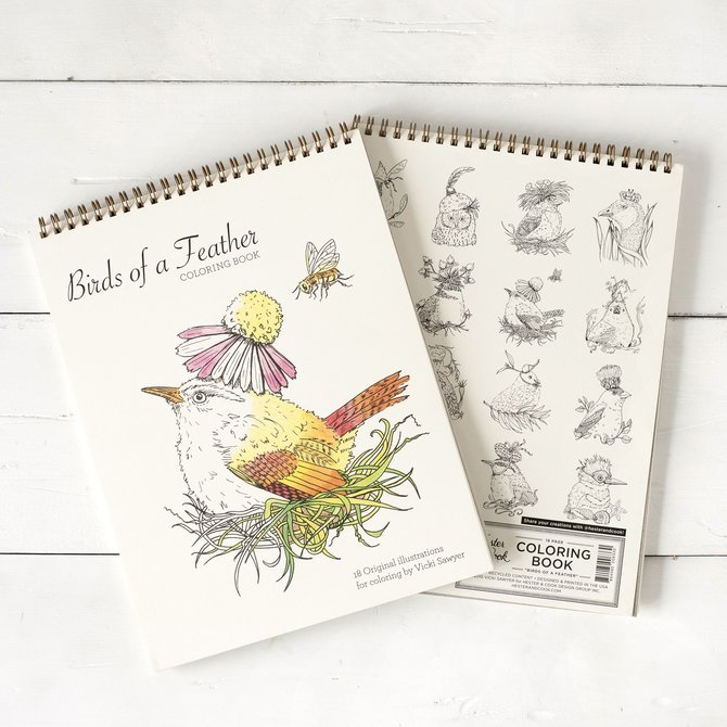 Hester & Cook Birds of a Feather Coloring Book - Vicki Sawyer - PF617VS