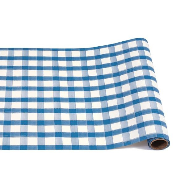 Hester & Cook Blue Painted Check Table Runner
