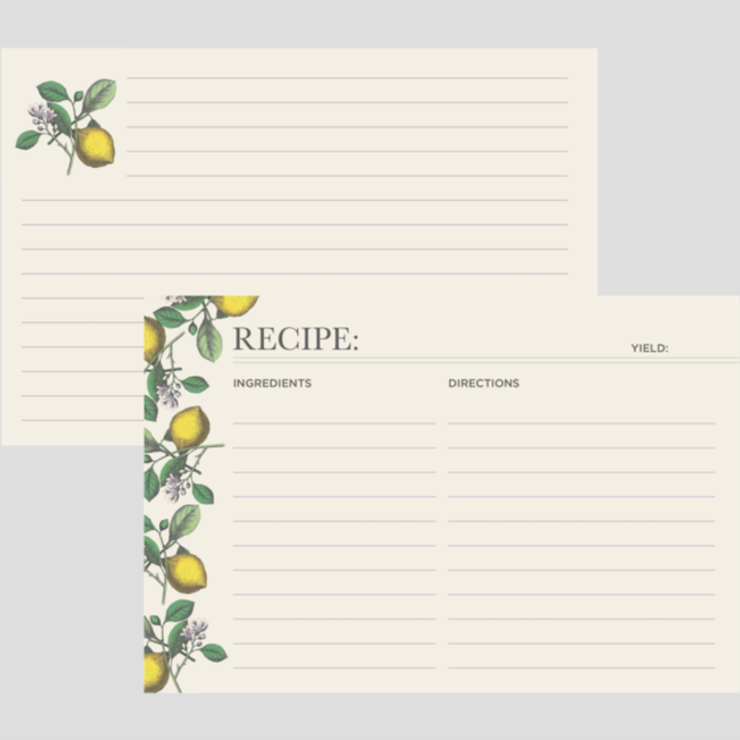 Hester & Cook Lemon Recipe Cards
