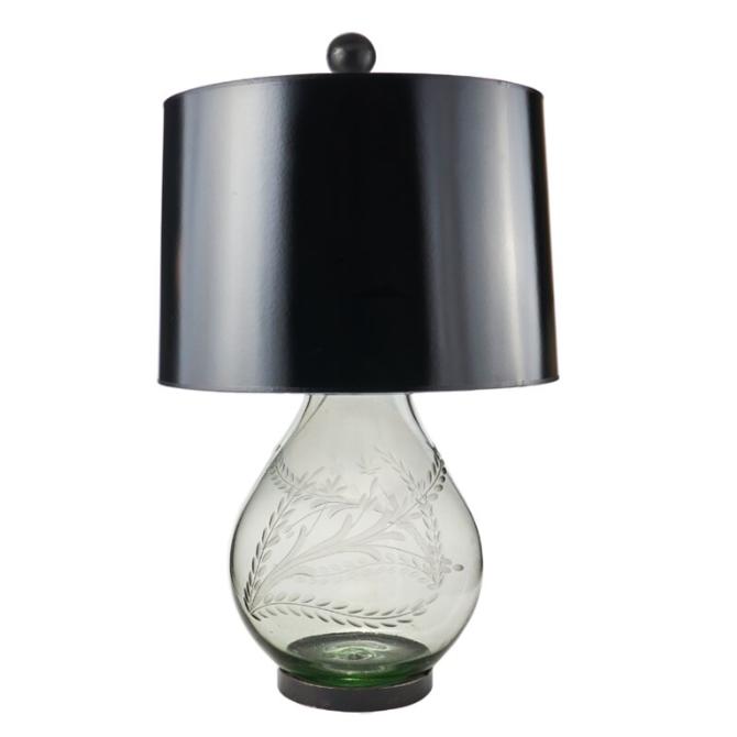 Jan Barboglio LA PEPITA PERA D' MESA LAMP CLEAR HANDBLOWN W/ DOUBLE PEPITA ENGRAVING, IRON STAND, BLACK FABRIC SHADE & WAX CAST IRON BALLIN FINIAL