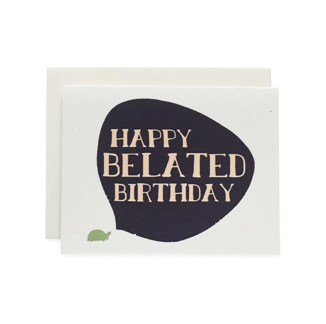 June & December Happy Belated Birthday Card : Turtle
