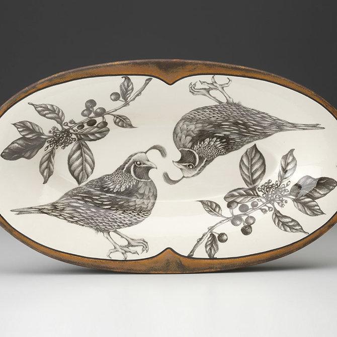 Laura Zindel Design Oblong Serving Dish Quail Feather H20BFFQUBL