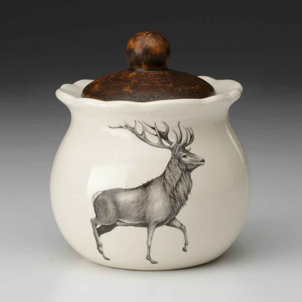 Laura Zindel Design Red Buck Deer Sugar Bowl