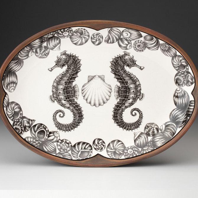 Laura Zindel Design Small Oval Platter Seahorse H1SOSESHBL