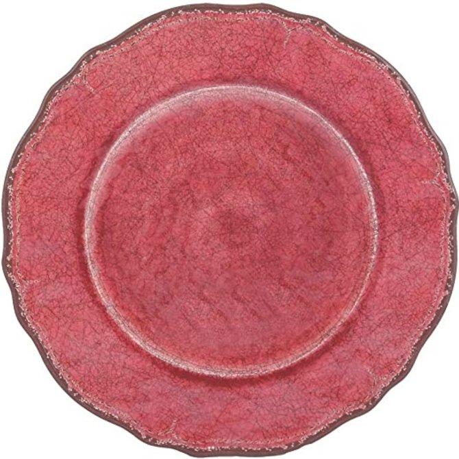 """Le Cadeaux Antiqua Red Dinner Plate 11"""""""