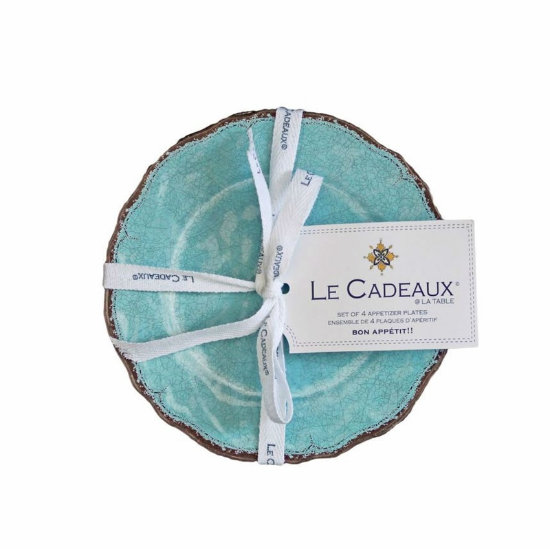 Le Cadeaux Antiqua Turquoise Appetizer plates