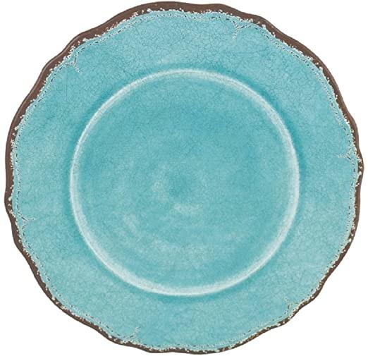 Le Cadeaux Antiqua Turquoise Dinner Plate