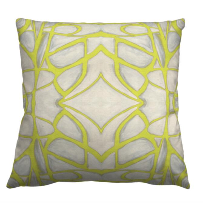 Lindsay Cowles Chartreuse Belgian Linen/Cotton 20x20