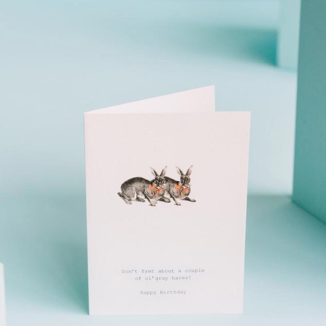 Margot Elena 16M49 Don't Fret (Gray Hares) Card