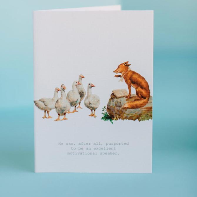 Margot Elena Motivational Fox Speaker Greeting Card